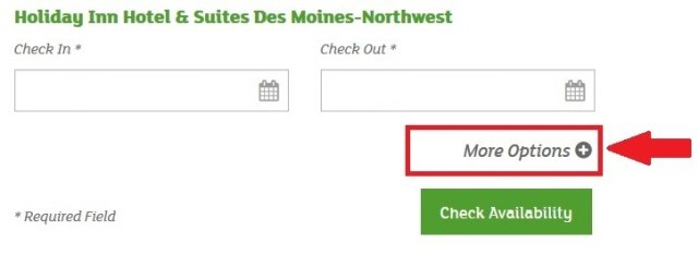 screenshot of holiday inn website