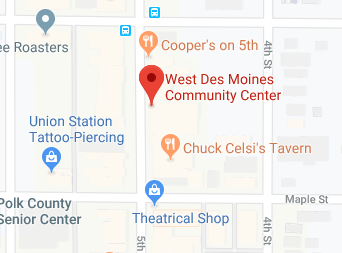 map of west des moines community center's location